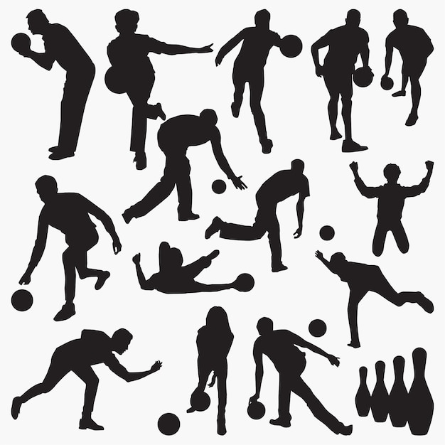 Bowling player silhouettes Premium Vector