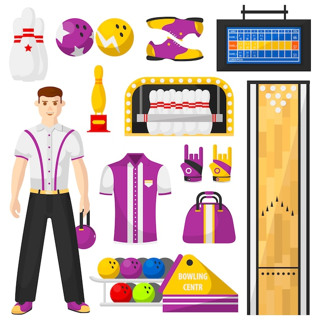 Bowling player with bowling equipment icons set. Premium Vector
