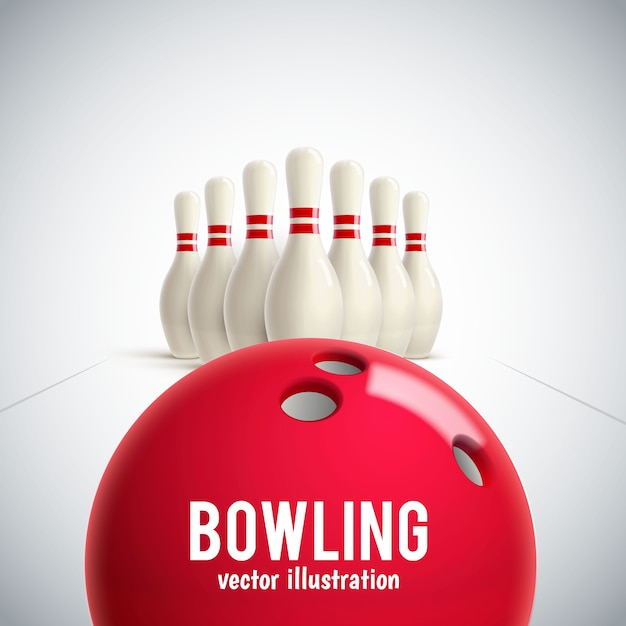 Bowling realistic theme eps 10 Premium Vector