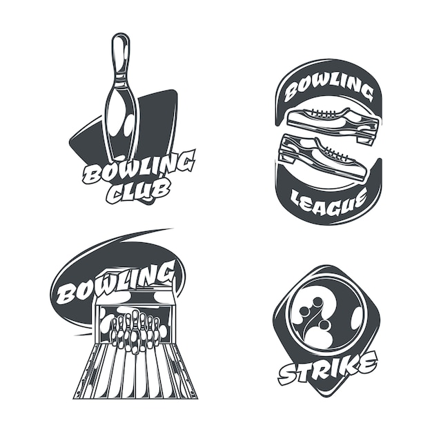 Bowling Set Of Four Isolated Logos In