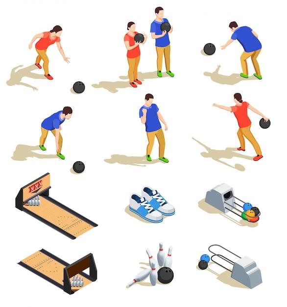 Боулинг набор изометрических иконок со спортивным инвентарем и командами игроков во время игры изолированы Бесплатные векторы
