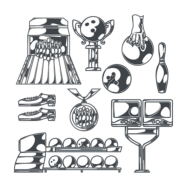 스트라이크 볼 신발 핀과 트로피 컵 레인의 고립 된 흑백 이미지로 설정된 볼링 무료 벡터
