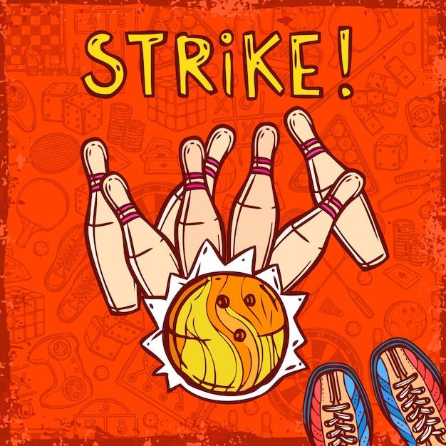 Sfondo di disegno di bowling Vettore gratuito