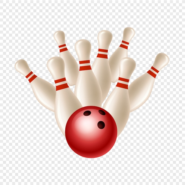Bowling Strike Skittles And Ball On Transparent Background Premium Vector