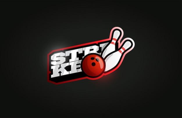 Bowling strike современный профессиональный спортивный логотип в стиле ретро Premium векторы
