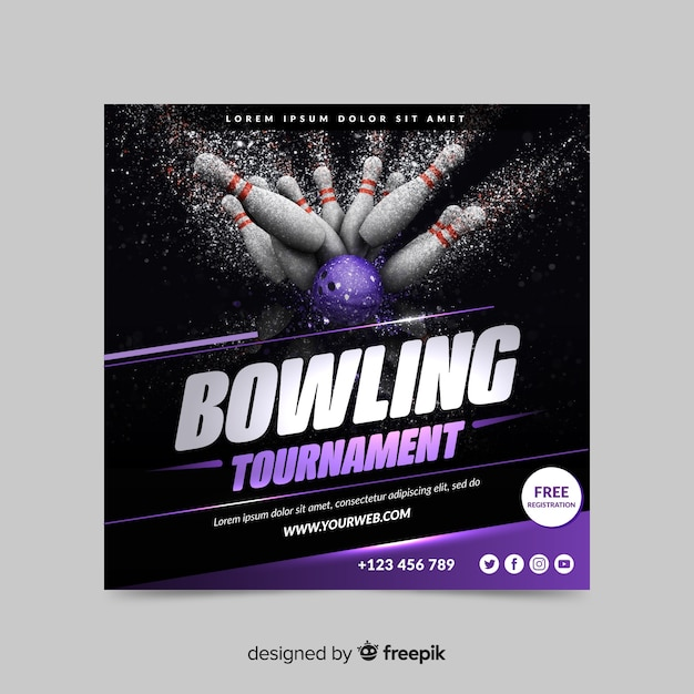 Bowling tournament sport banner Free Vector