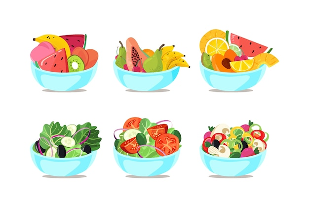 Bowls with different fruits and salads Free Vector
