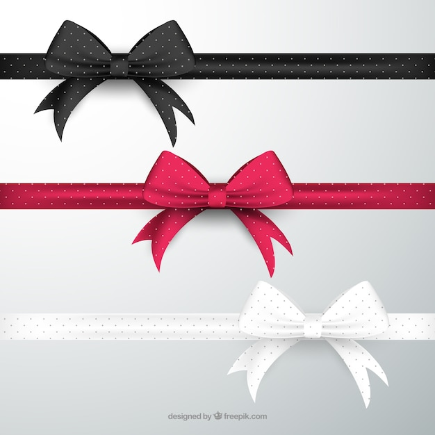 Bows in different colors Free Vector