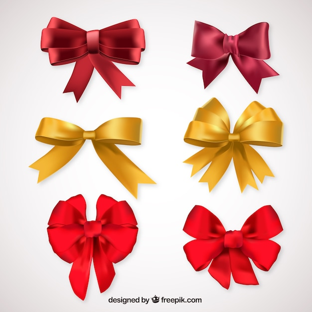 Bows for present Free Vector