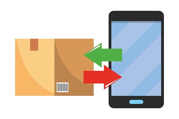 Box and cellphone illustration Premium Vector