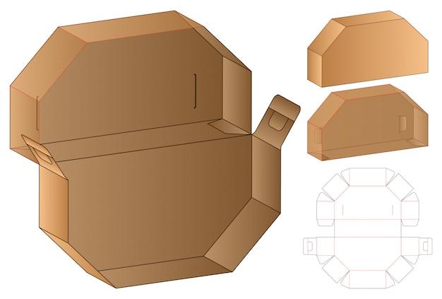 Box cut out template, die cut template design. Premium Vector