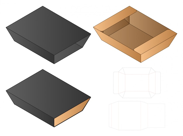 Box cut out template, die cut template design. Premium Vector