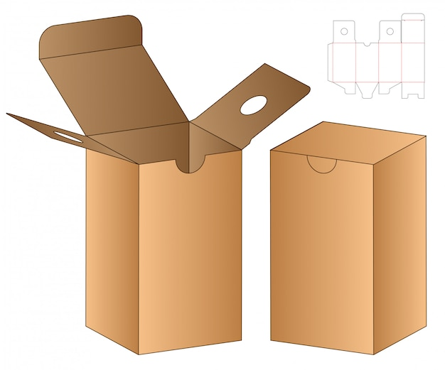 상자 컷 아웃 템플릿, 다이 컷 템플릿 디자인. 프리미엄 벡터