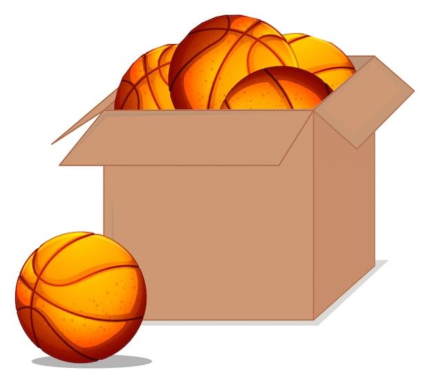 흰색 배경에 농구 공의 전체 상자 무료 벡터