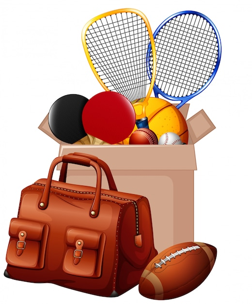 段ボール箱にスポーツ用品がいっぱい入った箱 Premiumベクター
