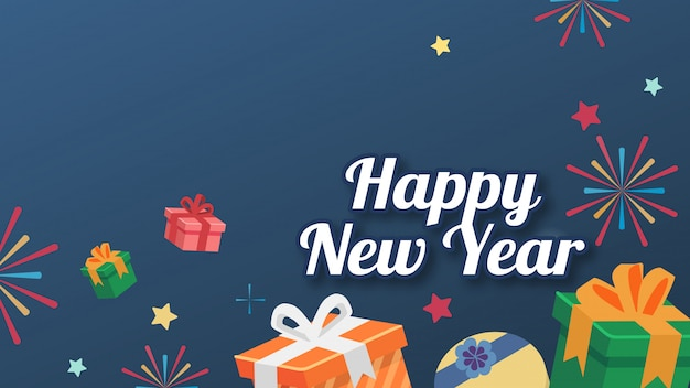 The box gift flat style bg star with text happy new year card version Premium Vector