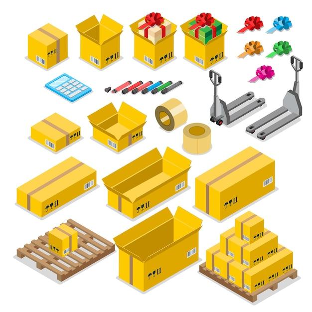 Box goods crate storage delivery warehouse concept icon set. Premium Vector