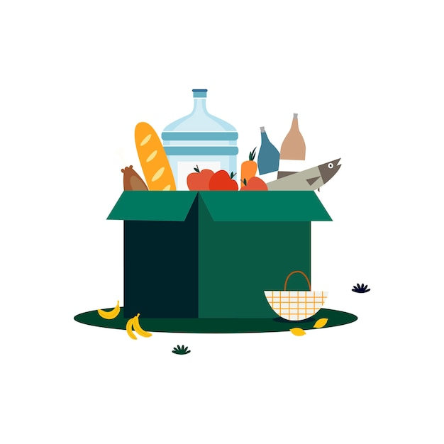 Box of groceries isolated in white illustration Free Vector