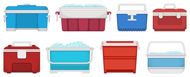 Box for ice  illustration on white background.  cartoon set icon icebox.  cartoon set icon box for ice. Premium Vector