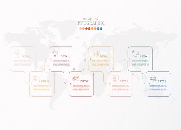 ボックスインフォグラフィックと現在のビジネスのアイコン。 Premiumベクター