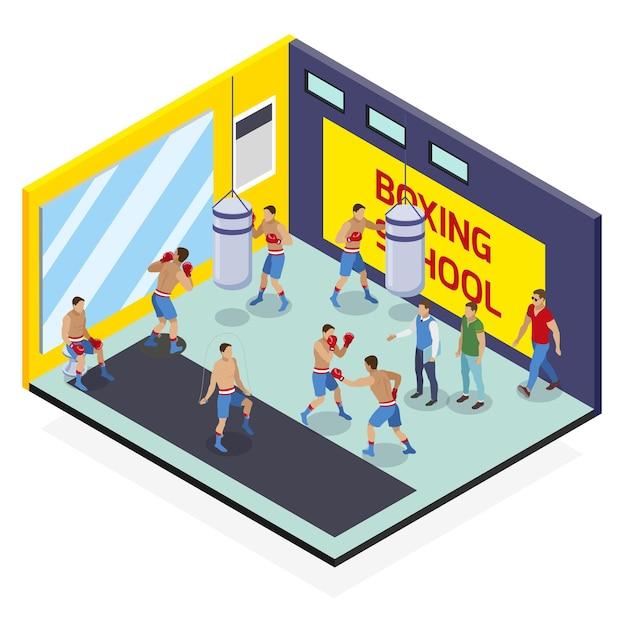 人間のキャラクターとサンドバッグボクシング学校運動室のビューボックス等尺性組成物 無料ベクター