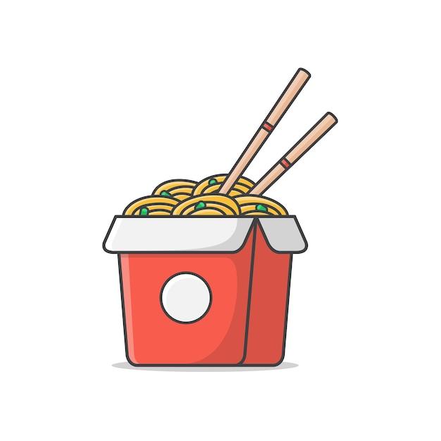 Коробка лапши с вареными яйцами и палочками значок иллюстрации. восточная лапша. азиатская лапша значок Premium векторы