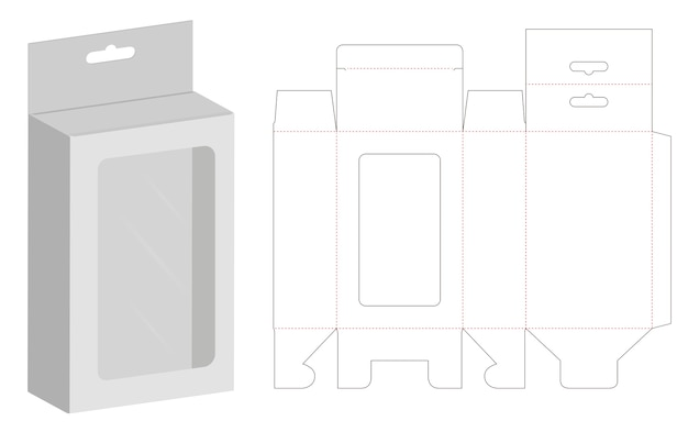 Box packaging die cut template 3D mockup Vector | Premium Download