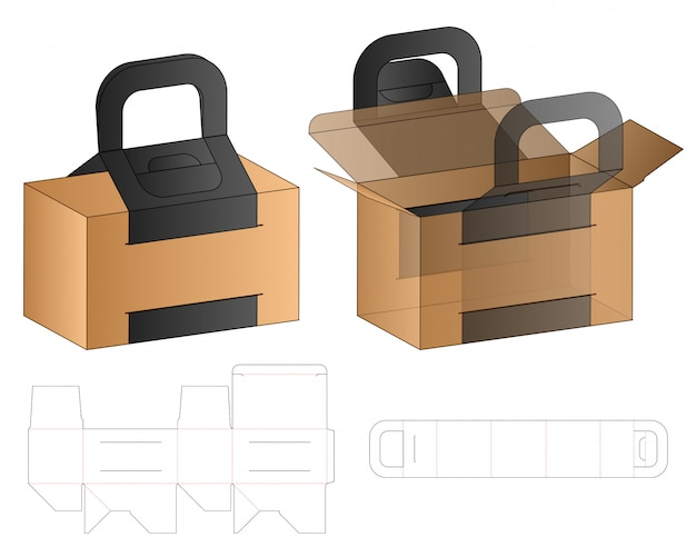 Box packaging die cut template  . 3d Premium Vector