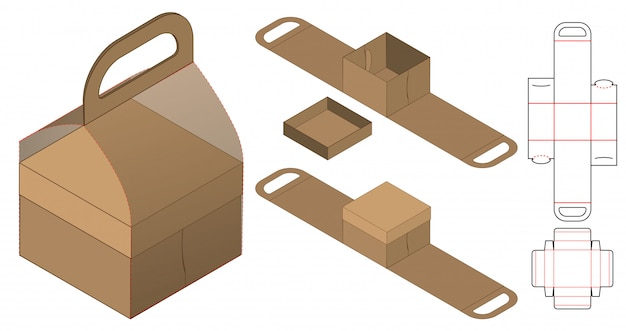 Box packaging die cut template design. 3d mock-up Premium Vector