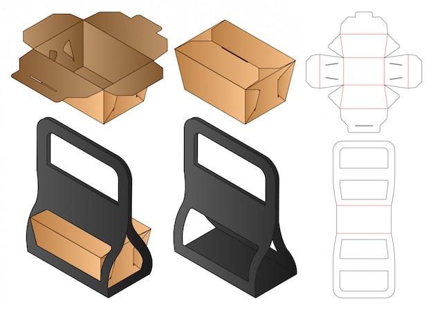 Box packaging die cut template design. 3d Premium Vector