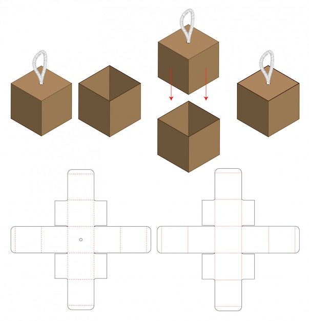 Box packaging die cut template design Premium Vector