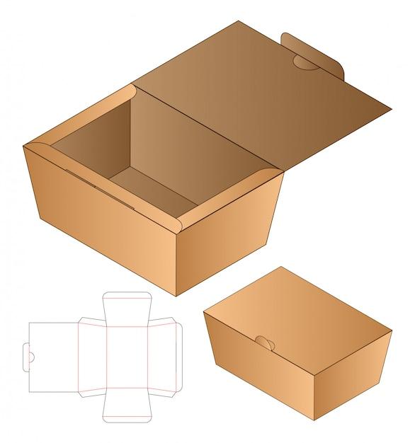 상자 포장 다이 컷 템플릿 디자인. 프리미엄 벡터