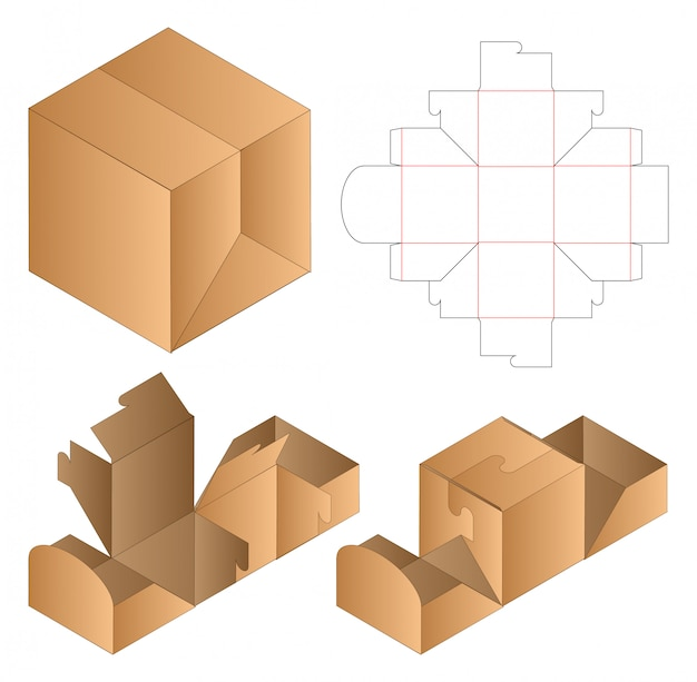 Box packaging die cut template design. Premium Vector