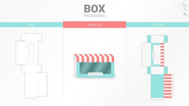 Box packaging and   die cut template Premium Vector