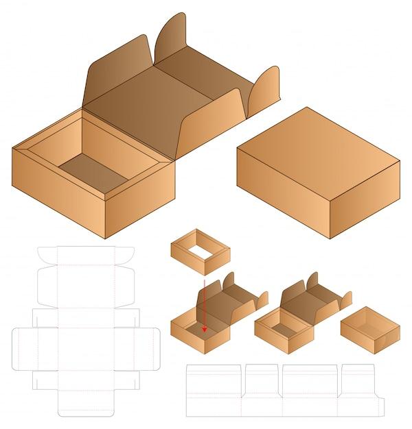 상자 포장 다이 컷 템플릿 프리미엄 벡터