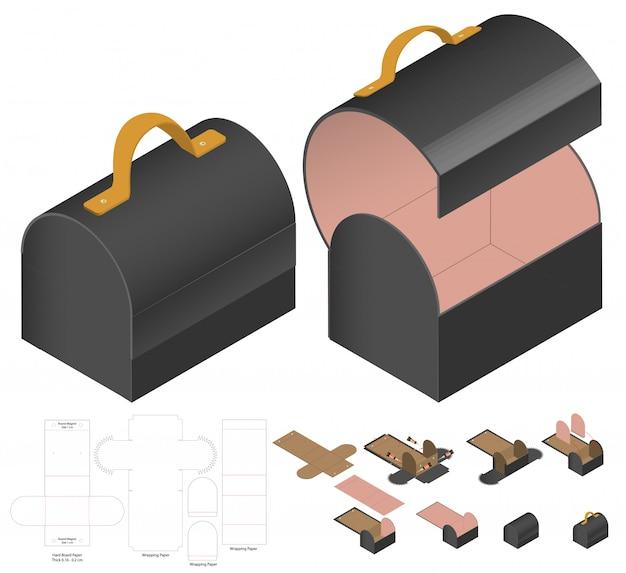 Box packaging die cut Premium Vector