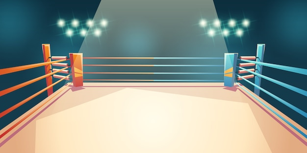 Box ring, arena for sports fighting cartoon illustration Free Vector