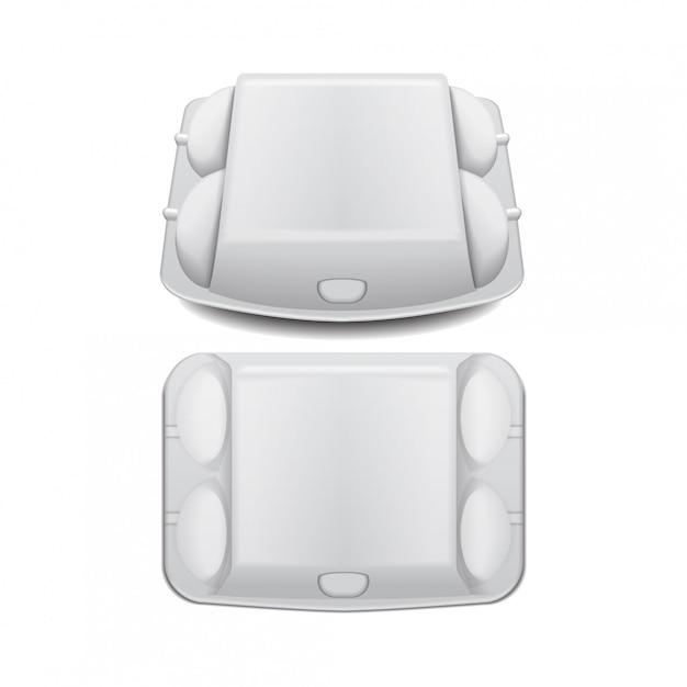 Коробка лотка для яиц макет шаблона вектора, белый пустой контейнер раскладушка. Premium векторы