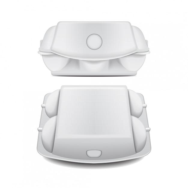 Коробка лотка для яиц макет шаблона вектора Premium векторы