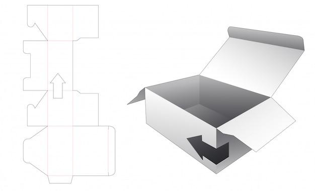 화살표 모양의 창 다이 컷 템플릿 상자 프리미엄 벡터