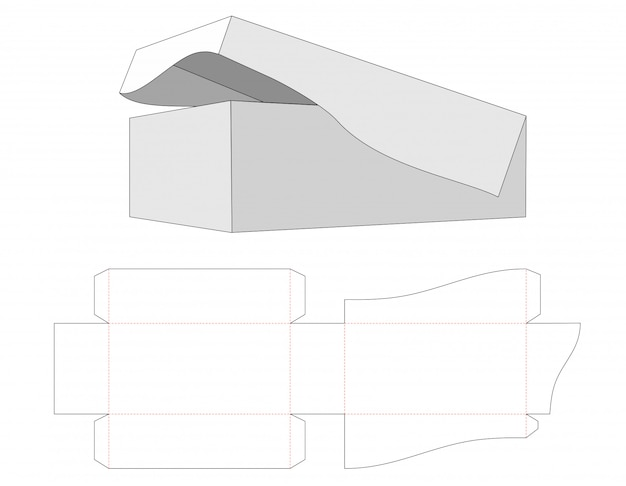 Box with the base and lid attached together die cut template Premium Vector