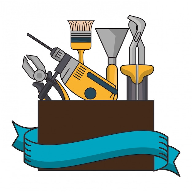 Box with construction tools Premium Vector