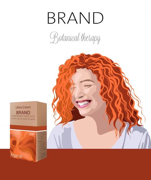 テキストのための場所で髪の化粧品が付いている箱。バックグラウンドでの生姜巻き毛の女性の笑顔植物療法。あなたのブランド Premiumベクター