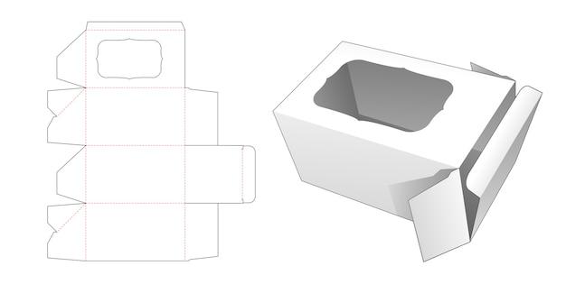 Box with curve rectangular window die cut template Premium Vector