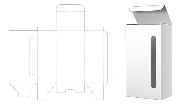 Box with long and narrow window die cut template Premium Vector