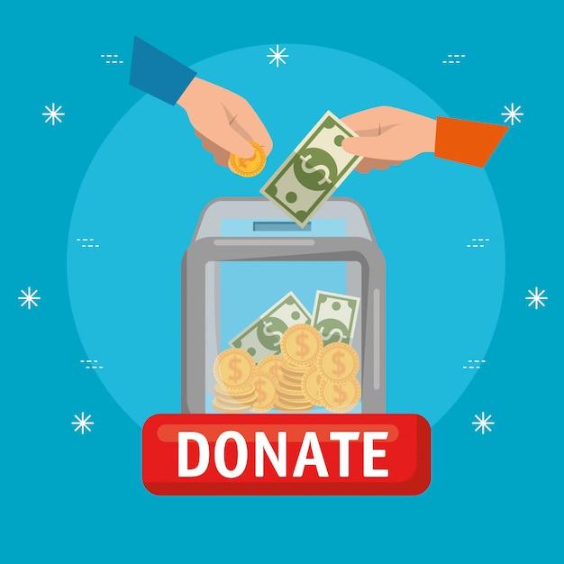 자선 기부금을위한 돈 상자 무료 벡터