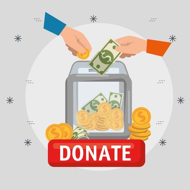慈善寄付のためのお金の箱 無料ベクター