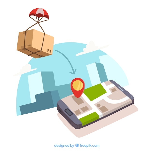 Box with pachute and phone with location Free Vector