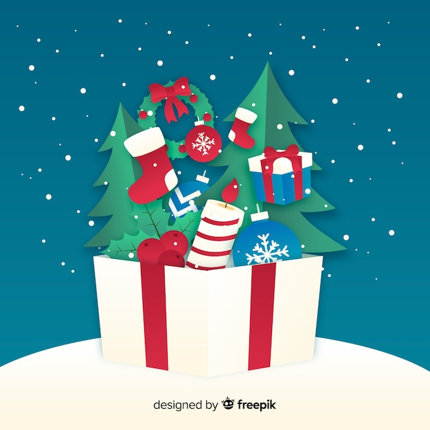 Box with presents inside paper style Free Vector