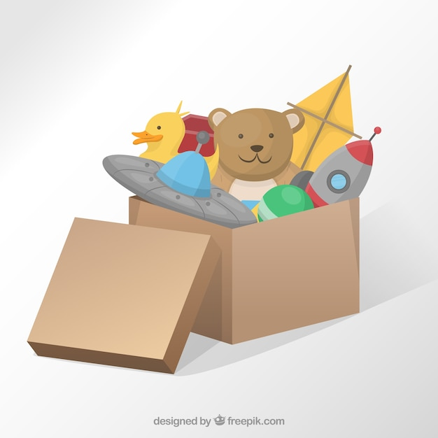 Box with toys Free Vector